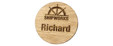 Engraved wooden name badges - Real wood name badge with engraved logo and text | www.namebadgesinternational.ie